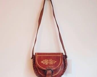 Vintage smal leather tooled festival hippie bohemian bag purse