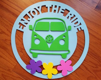 Wooden Decor Door and Wall Hanger; VW Bus Van; Hippie Van,  Dealerships Enjoy the Ride; painted and layered  FREE SHIPPING, Priority Mail