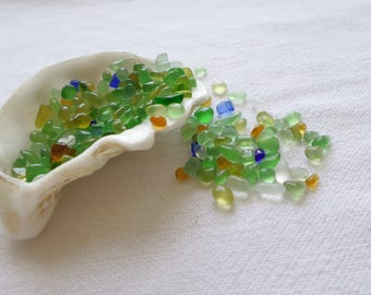 Tiny sea glass, 210 real miniatures, New even smaller (2mm to 5 mmm), supply for flasks or mosaics.