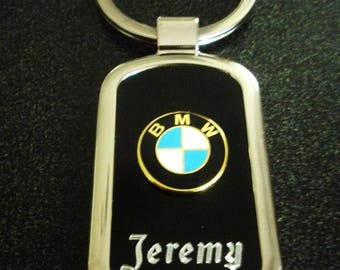 Classic BMW Black Onyx & Silver Keychain-Free Engraving