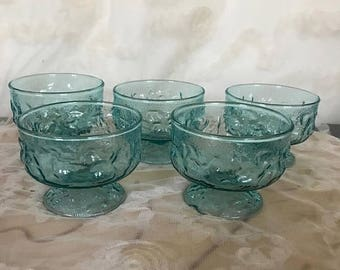 Winter Sale Teal Blue Crinkle Glass Dessert Cups, Morgantown Seneca Driftwood Sherbet Cups, Teal Blue Crinkle Footed Dessert Cups