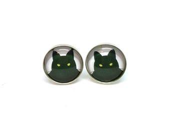 Sterling Silver 12 mm Black Cat Cat Lover earrings