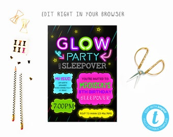Glow sleepover party tem, TRY BEFORE you BUY, instant download, edit yourself invitation,Template Editable