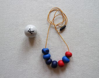 Handmade Polymer Clay Geometric Beaded Necklace Red Blue and Navy