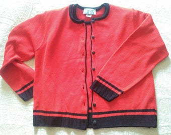 Vintage 1980's - 1990's Original BEA Classics Red With Black Trim 100% Acrylic Short Sleeve Sweater With Matching Cardigan Sweater Set