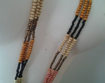Multi Strand Wood Beaded Necklace - 80's