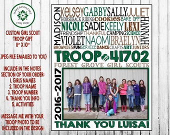 GIRL SCOUT TROOP Gift ~ Girl Scout Leader Gift ~ Troop Gift ~ Thank You ~ Jpeg File ~ Personalized