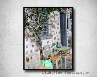 Greece photography print Travel photography Street picture Greek island village Kitchen decor Light green white decor Fine art photography