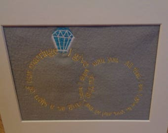 Wedding Message Embroidered Picture