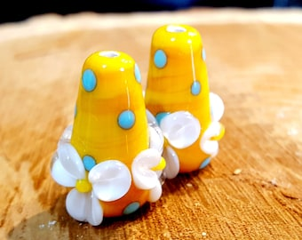 Lampwork Floral Earring Pair, Lampwork Floral Bead, Floral Earring Pair