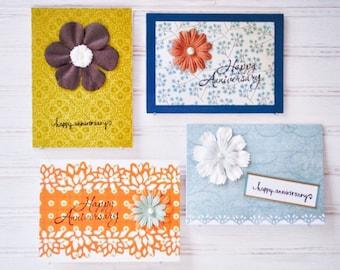The HAPPY ANNIVERSARY PACK - 4 Happy Anniversary Cards - Handmade/Homemade Greeting Cards