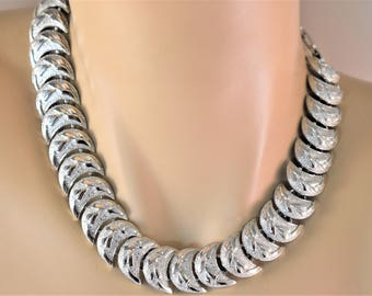 Vintage Coro Half Moon Articulated Choker Necklace Retro Signed Costume Jewelry 16""