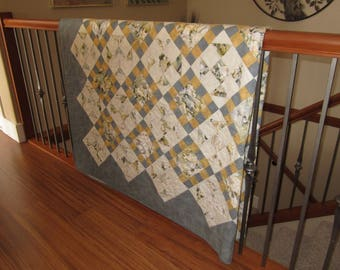 Hand Quilted Grey and Beige Quilt