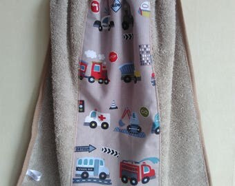 elastic towel canteen boy beige trucks firefighter, police car, train, construction