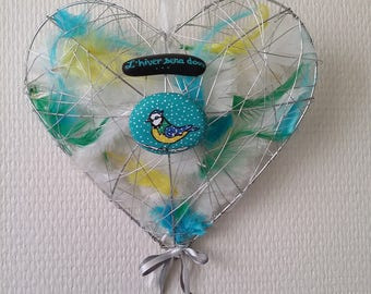 """Hanging decoration heart pebbles chickadee """"winter will be soft"""" hand made pen"""
