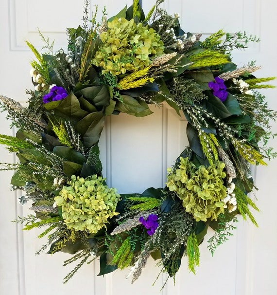 Hydrangea wreath, dried flower wreath, indoor wreath, large wreath, purple wreath, natural wreath, preserved wreath, leaf wreath