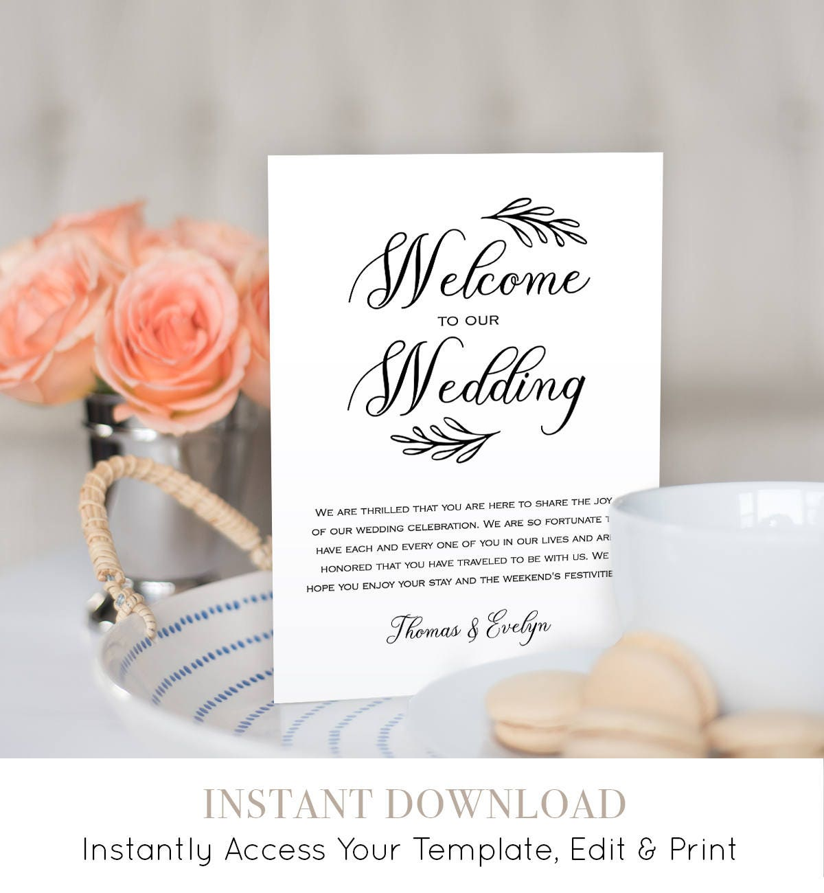 Wedding itinerary agenda welcome bag template printable welcome wedding itinerary agenda welcome bag template printable welcome letter instant download editable template digital file 027 106wb junglespirit Images