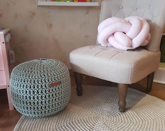 Mint Pouf, Furniture, Kids Furniture, Bean Bag Chairs, Nursery decor, Crochet pouf