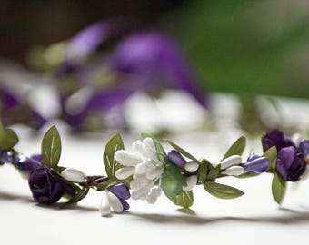 Purple and white flower Crown