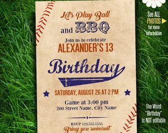 Baseball Birthday invitation, Printable invite, game party, Instant download Self Editable PDF File A286