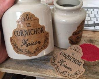 Custom label to decorate his pickle jars