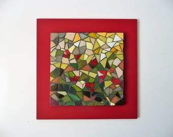 Painting mosaic on red frame