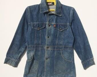 Vintage 70's Levis Denim Jacket Orange Tab Medium Size ( A16 )