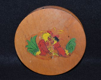 Vintage Wooden Hamburger Press, Hinged Press with Fighting Roosters Decal, Round Wooden Press for Burgers, Tortilla Press, Wood Folk Art