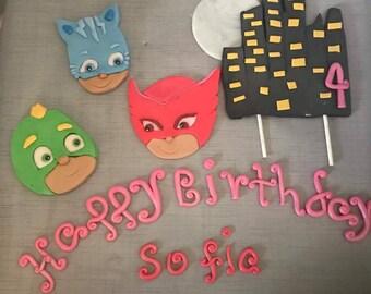 Pjmask inspired fondant cake topper set