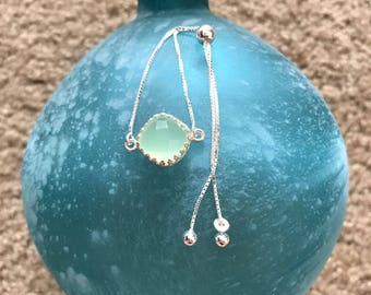 Sterling Silver Genuine Lime Chalcedony Crown Bezel Box Chain Bolo Bracelet. Solid .925 Sterling Silver. Rose Cut Lime Chalcedony