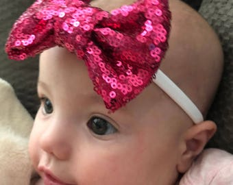 Hair Bows, Sequin Bow, Sequin Headband, Sequin Bow with Alligator Clip, Sequins, Baby Bows, Large, Small, Medium, Glitter Bows, Big Bow