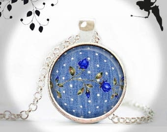 Necklace long 1 blue ROSE cabochon jewelry of JEANS KJR-025-044