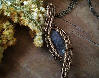 Sale! NEW! Tibetan Quartz Point with black phantom quartz  antique brass colored copper wire wrapped pendant necklace