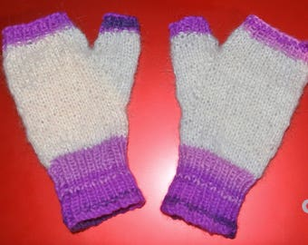 Ladies Handknitted Fingerless Mitts. Made in UK by Seller