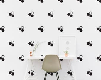 Polygon wall Decal set Kids room Hexagon Wall Sticker Kids Bedroom, Living room Pattern Wallpaper Vinyl Wall Decals Wall Stickers Home Decor