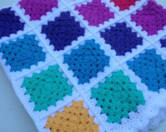 Beautiful pastel rainbow baby blanket