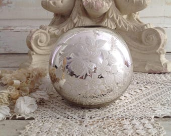 Antique Mercury Glass Candle Holder Vase