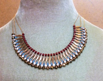 Egyptian-inspired Collar Necklace, Unusual Bib Necklace, Vintage Egyptian style Collar