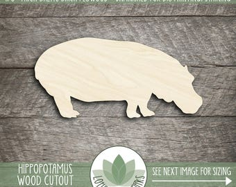 Hippopotamus Wood Laser Cut Shape, Wooden Hippopotamus, Many Size Options And Shapes Available, Wood Hippo
