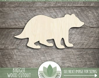 Wood Badger Laser Cut Shape, Wooden Badger Shape, Many Sizes And Shapes Available, Badger Party Decoration, Nursery Decor