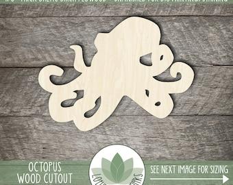 Wood Octopus Shape, Unfinished Wood Octopus Laser Cut Shape, DIY Craft Supply, Many Size Options