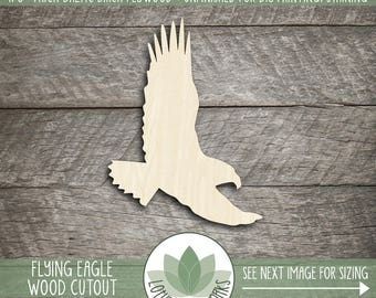 Flying Eagle Wood Cutout Shape, Laser Cut Wooden Eagle, Unfished Wood Shapes For DIY Projects, Many Size Options Availalbe