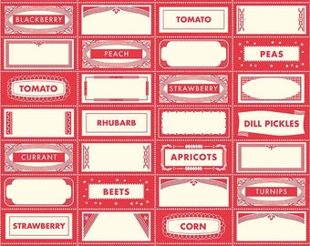 """25% Sale Riley Blake Farm Girl Fabric By October Afternoon Canning Labels In Red  """"Fat Quarter"""""""