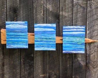 Songs of the Sea, Contemporary, Waves, Painting, Ocean Art, Blue, Impressionism, fish