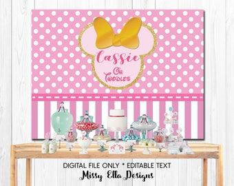 Pink Gold Minnie Mouse Dessert Table Backdrop - Minnie Mouse Party - Polka Dots & Stripes - Personalized Party Backdrop - Digital Printable