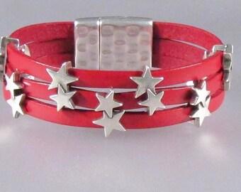 15mm Star Leather Cuff
