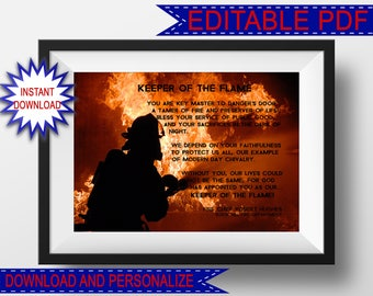 Firefighter Gift, Personalized Firefighter Art Print, Editable PDF, Printable Firefighter Art, Firemen First Responders Gift, Fireman Gifts