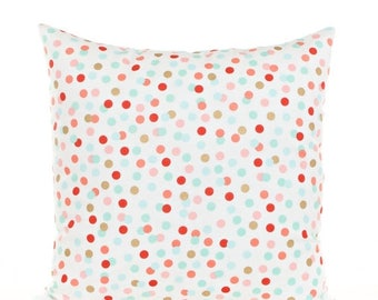 SALE ENDS SOON Pink Gold and Mint Polka Dot Throw Pillow Cover, Pink and Gold Pillow, Mint Green Pillowcase, Nursery Polka Dot Pillows, Meta