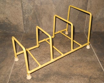 Retro Yellow Rubber Coated Dish Rack Display/Storage