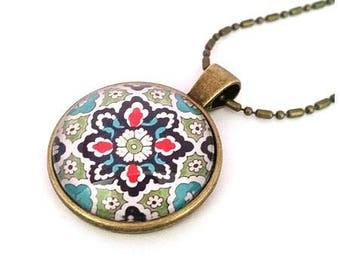 Necklace bronze East mosaic cabochon glass • •